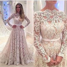 Lace Backless Bowknot Long-Sleeves A-Line Elegant Wedding Dress