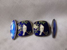Vintage Sterling Silver Blue Enamel Cufflinks W/ Doves, Flowers RARE GORGEOUS!!!