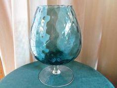 Vintage Mid Century Ripple Art Glass Compote