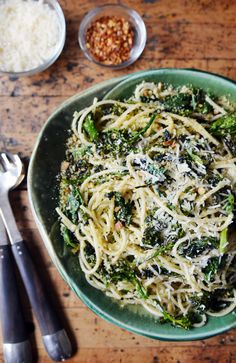 Charred Broccoli Rabe with Chitarra & Lemony Bread Crumbs
