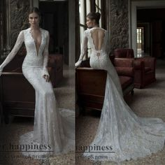 V-Neck Long Sleeve Lace Wedding Dress Open Back Sexy Bride Gown ...