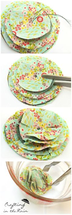 fluffy fabric flowers by crafting in the rain on iheartnaptimecomFluffy Fabric Flower {Hello Summer} - I Heart Nap TimeFluffy Fabric Flowers that uses a window screen as a secret ingredient.Fluffy Fabric Flower {Hallo Sommer – Make Your FlowersYou Felt Flowers, Diy Flowers, Paper Flowers, Cloth Flowers, Flower Diy, Easy Fabric Flowers, Fabric Flower Brooch, Fabric Paper, Fabric Scraps