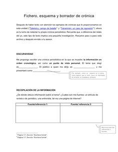 Fichero, esquema y borrador de crónica  Después de haber leído con atención los ejemplos de crónicas que te proporcionamos...