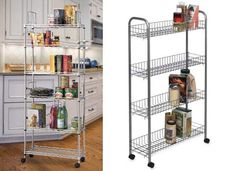 This rolling pantry shelf is perfect for that narrow space between the fridge and wall