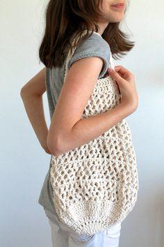 Handmade Crochet Tote Market Bag Organic