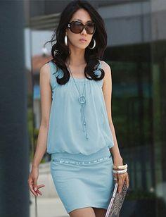 Celebrity Style Pure Color Tank Dress $8.30 - Eastclothes.com