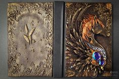 Polymer Clay Book, Diary and Electronics Cover. To see more art and information about Aniko Kolesnikova click the image. Polymer Clay Projects, Polymer Clay Art, Polymer Journal, Dungeons And Dragons Dice, Clay Tiles, Journal Covers, Book Of Shadows, Bookbinding, Altered Art