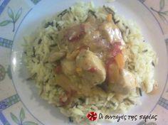 Γλυκόξινο κοτόπουλο μαγειρεμένο σε γουόκ. Η συνταγή είναι δοκιμασμένη και άκρως επιτυχημένη..! Guacamole, Potato Salad, Rice, Potatoes, Meat, Chicken, Ethnic Recipes, Food, Inspiration