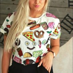Food favorites shirt Only worn once! Size small, cropped food inspired tee! Tops Tees - Short Sleeve