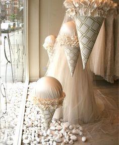 Neutral vibes!! Love window displays!! #inspiration #storybookbliss #icecream #neutraltones #visualmarketing #boutique #storefront #ideas #pinterestpic #glam #sweets #partyprops