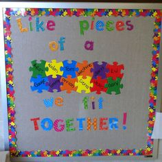 bulletin board with puzzle pieces Puzzle Bulletin Boards, Back To School Bulletin Boards, Preschool Bulletin Boards, Classroom Bulletin Boards, Autism Classroom, Preschool Classroom, Classroom Themes, Classroom Organization, Preschool Activities
