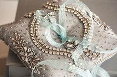 Beaded ring bearer pillow