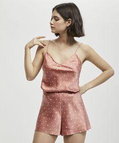 Polka dot print shorts - Pyjamas - Pyjamas and homewear Cute Sleepwear, Satin Sleepwear, Kimono Fashion, Cute Fashion, Fashion Spring, Cute Pijamas, Lingerie, Cute Pajama Sets, African Prom Dresses