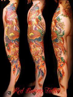 足,足首,女性,ふくらはぎ,太もも,鳳凰,カラーのタトゥーデザイン|タトゥーナビ