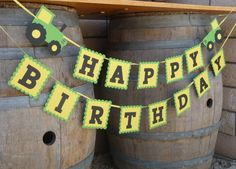 John Deere Green tractor Happy Birthday Banner - Farm green and yellow tractor birthday party garland on Etsy, $27.00