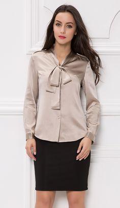 Satin bow blouse