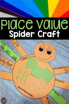 This spider place value craft is perfect for a Halloween math craft! It also makes for a festive October bulletin board. A 2-digit place value and a 3-digit place value activity are included. Students build a 2-digit or 3-digit number with base ten blocks and paste onto their spider's body. Each spider leg then asks students to show place value knowledge in a different way. Spider legs will be cut out and pasted onto the spider body for a little crafty fun and fine motor work. Halloween Math, Halloween Crafts, Third Grade Math, Second Grade, Math Games, Math Activities, October Bulletin Boards, Place Value Activities, Base Ten Blocks