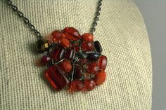 Crochet Circle Necklace - Rubies