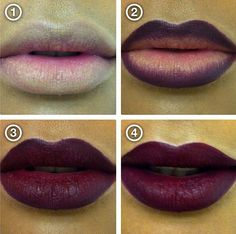 Perfect dark lip tutorial for fall - conceal, line, fill in and blot, fill again