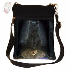 This Beautiful Shoulder Bag is brought to you by the untamable imagination of Lisa Parker A black cat sits behind a Ouija board looking on knowingly Anne Stokes, Ouija, Lisa Parker, His Masters Voice, Artist Bag, Fantasy Gifts, Cat Bag, Small Shoulder Bag, Look At You