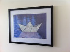 Collage Paper Boat Original Pastel Painting by NoodiArt on Etsy