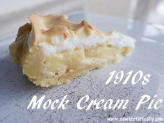 Because the 1910s strawberry custard pie was so delicious, I tried out another 1910s pie recipe: mock cream pie from 1919. Mock cream pie is a custard pie with meringue topping – it's delicious: sweet, rich and creamy! Ingredients: Shortcrust Pastry 225g flour 150g butter 75g sugar  Mock Cream Filling & Meringue Topping 3 … Continue reading 1910s Mock Cream Pie Recipe → Vintage Sweets, Cream Pie Recipes, Cake Recipes, Vegan Recipes, Natural Food Coloring, Shortcrust Pastry, Vegetarian Breakfast, Ice Cream Desserts, Cheesecake Pie