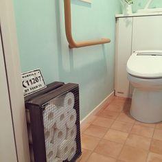 トイレットペーパー収納/テラコッタ風クッションフロア/カインズホームのペンキ/セリア…などのインテリア実例 - 2016-02-04 18:24:36 | RoomClip(ルームクリップ) Interior, Trash Can, Sweet Home, Bathroom