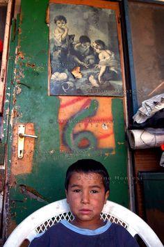 Rom's camp Casilino 900.Roma Bosnian child.