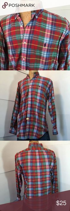 Men's Large multicolored Ralph Lauren Polo Shirt Men's size Large Ralph Lauren Polo long sleeved shirt. Blake fit. Multicolored plaid pattern. In excellent condition. Was always dry-cleaned Polo by Ralph Lauren Shirts Casual Button Down Shirts