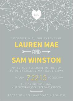 Lemon Gray Triangular Modern Wedding Invitation