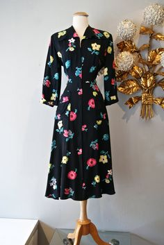 40s Dress // Vintage 1940s Navy Rayon Floral by xtabayvintage, $198.00