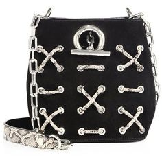 Alexander Wang Riot Embellished Suede Crossbody Bag (2.635 BRL) ❤ liked on Polyvore featuring bags, handbags, shoulder bags, purses, suede bucket bags, suede shoulder bag, handbag purse, purse shoulder bag and purses crossbody