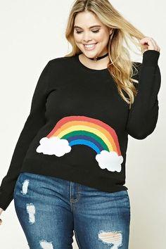 Plus Size Rainbow Sweater