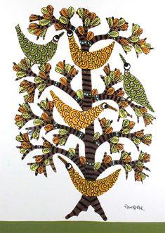 Buy Multicolor Handmade Tree of Life Nature Gond Painting-India Meets India Abstract Art Painting, Indian Art Paintings, Gond Painting, Lovers Art, Flower Art Drawing, Madhubani Art, Mandala Art Lesson, Madhubani Painting, Tribal Art Designs