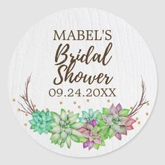 Shower Plant, Succulent Cupcakes, Purple Succulents, Bridal Shower Favors, Boho Wedding, Wedding Bride, Wedding Color Schemes, Custom Stickers, Wedding Invitations