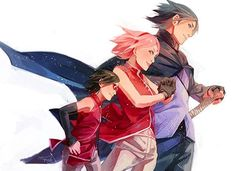 Sasuke with his family Naruto And Sasuke, Anime Naruto, Hinata, Sasuke Sakura Sarada, Naruto E Boruto, Narusaku, Naruto Funny, Gaara, Itachi