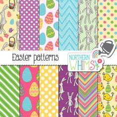 Easter Digital Paper - hand drawn bunny, Easter egg, and chick seamless patterns - spring scrapbook paper - commercial use CU OK