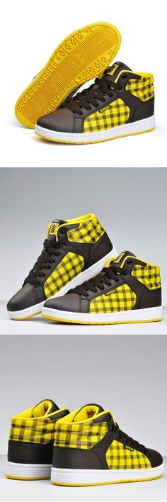 Women's #yellow genuine leather #sneakers sport shoes