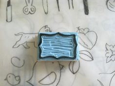 Handcarved rubber stamp  message box by jollygoodday on Etsy, $4.00