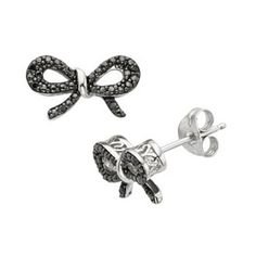Simply Vera Vera Wang Sterling Silver Black Diamond Accent Bow Stud Earrings #kohls