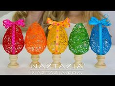 DIY - Learn How To Make a String Yarn Thread Egg - Easter Eggs Craft for Kids for Spring Tutorial - Crochet Locs Easy Easter Crafts, Easter Projects, Bunny Crafts, Easter Crafts For Kids, Spring Tutorial, Diy Tutorial, Making Easter Eggs, Easter Crochet Patterns, Knitting Patterns