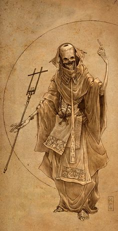 I like the style of this drawing because it looks like it was old which also makes this character look very very old. It reminds me of a monk because of his robes and staff. He looks evil because it is an undead character.