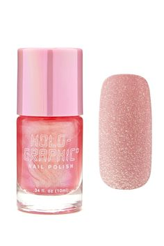 A holographic nail polish featuring a pink shade and a cap with a brush applicator.