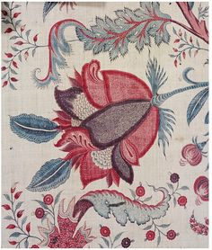 Palampore of painted and dyed cotton chintz, Coromandel Coast, ca. Motifs Textiles, Vintage Textiles, Textile Prints, Textile Design, Fabric Design, Fabric Patterns, Flower Patterns, Print Patterns, Jacobean Embroidery