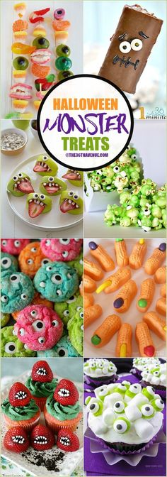 Halloween Recipes - These Halloween Monster Treats are easy to make and super fun to eat. they are perfect for school class parties or any Halloween Party!