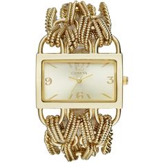Geneva Womens Rectangular Gold-Tone Chain Bracelet Watch ($34) ❤ liked on Polyvore featuring jewelry, watches, bracelet jewelry, gold tone jewelry, chain bracelet, geneva wrist watch und rectangle dial watches