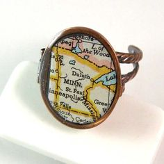 Minnesota Map Ring with Secret Compartment by XOHandworks.com $32