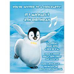 Happy Feet Penguin Birthday Party Invitation            Price: Starting at $0.85