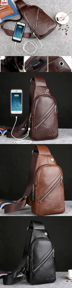 US$21.11 USB Port Business Chest Bag Pu Leather Crossbody Bag Sling Bag For Men