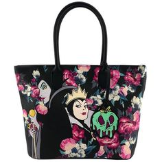 Loungefly Disney Villains Ursula Maleficent Evil Queen Tote Bag Purse ($38) ❤ liked on Polyvore featuring bags, handbags, tote bags, reversible tote, purse tote, handbag purse, hand bags and reversible tote bag
